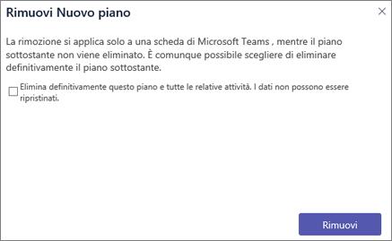 Screenshot della finestra di dialogo della scheda Rimuovi in Teams