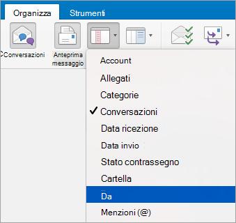 Mostra la selezione dell'opzione dal menu Disponi per
