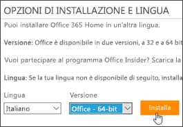 Screenshot che mostra le opzioni di lingua e versione e il pulsante di installazione