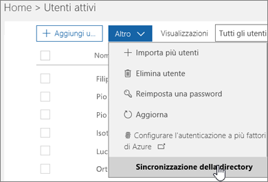 Nel menu Altro scegliere Sincronizzazione della directory