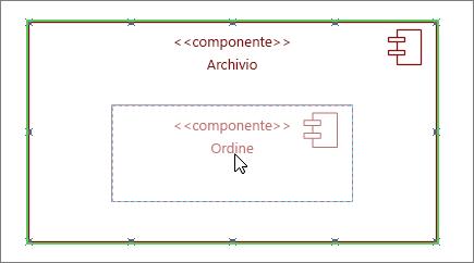 Forma sottosistema Archivio con il componente Ordine trascinato su di essa