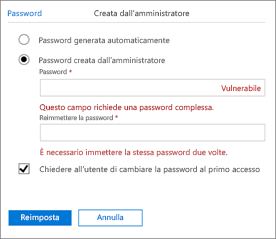 Creare una password.