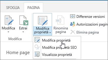 Scheda Pagina aperta sulla barra multifunzione con l'opzione Modifica proprietà evidenziata