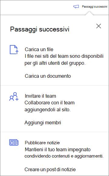Riquadro passaggi successivi dopo la creazione di una nuova raccolta condivisa in OneDrive for business
