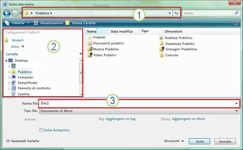 Finestra di dialogo Salva con nome in Windows 7 e Windows Vista