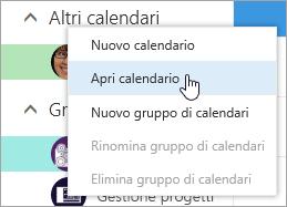 Screenshot del menu di scelta rapida per Altri calendari, con Apri calendario selezionato.