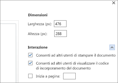 Opzioni per incorporare un documento di Word