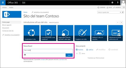 Il Newsfeed di SharePoint è disponibile automaticamente con i siti del team