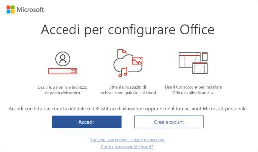 """Mostra la pagina """"Accedi per configurare Office"""" che può essere visualizzata dopo l'installazione di Office"""