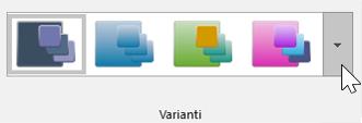 Schermata delle opzioni di Progettazione > Temi > Varianti sulla barra degli strumenti