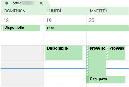 Aspetto del calendario per la persona con cui è stato condiviso.
