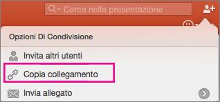 Copia collegamento per condivisione in PowerPoint per Mac