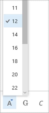 Cambiare le dimensioni del carattere in Outlook sul Web.