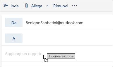 Screenshot di un messaggio trascinato nel riquadro Componi