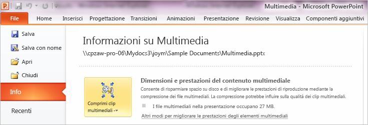 Fare clic su Comprimi clip multimediali