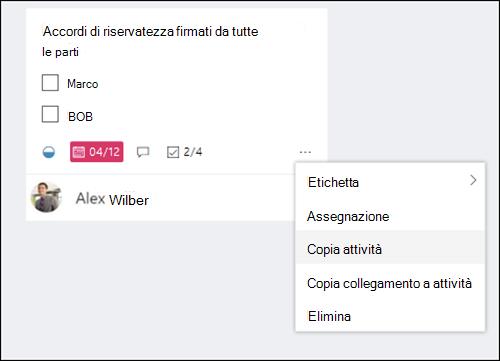 Cattura di schermata: con il menu altro l'apertura di un'attività nella scheda pianificazione.