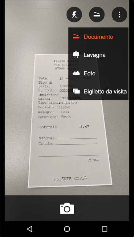 Screenshot che mostra come acquisire un'immagine in Office Lens per Android.