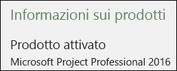 Informazioni su Product - Project Professional 2016