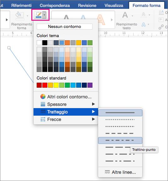 Scheda Formato forma con l'opzione Contorno forma evidenziata e le opzioni del menu Linee tratteggiate.