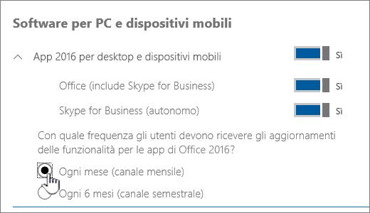 Impostazione delle build del canale mensile per gli utenti PC