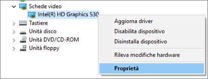 Passare a Gestione dispositivi di Windows per gestire i driver della scheda video.