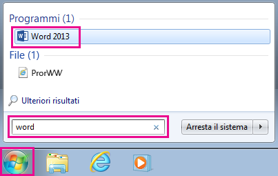 Cercare app di Office in Windows 7