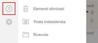 Immagine del riquadro di spostamento sinistro in Outlook per iOS.