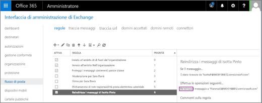 Lo screenshot mostra la pagina Regole dell'area del flusso di posta dell'interfaccia di amministrazione di Exchange. La casella di controllo Attivato della regola è selezionata per reindirizzare i messaggi di posta elettronica dell'utente Isotta Pinto.