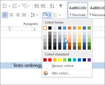 Applicare un colore di sfondo al testo