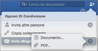 Selezionare il formato del documento da inviare, ossia documento di Word o PDF.
