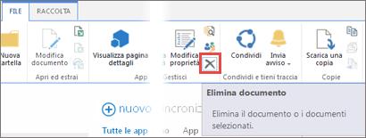 eliminazione di un'app dalla raccolta app per sharepoint nel catalogo app