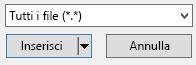 """Il filtro di tipo file nella finestra di dialogo Inserisci video ha un'opzione """"tutti i file""""."""
