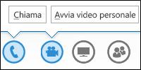 Schermata dei pulsanti audio e videocamera