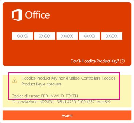 Codice di errore visualizzato quando si immette un codice Product Key errato alla pagina http://office.com/setup.