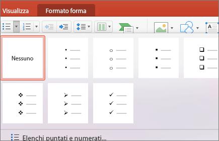 Screenshot degli stili di punto elenco disponibili quando si seleziona la freccia sul pulsante Elenchi puntati