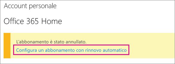 """Screenshot del collegamento """"Configura un abbonamento con rinnovo automatico""""."""