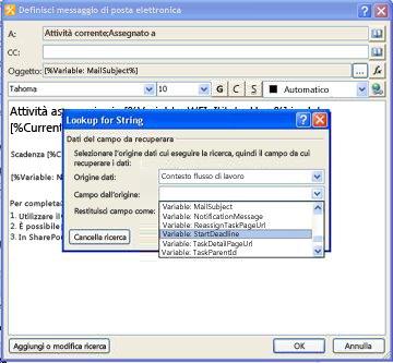 È possibile utilizzare le opzioni nella finestra di dialogo Cerca Stringa per aggiungere contenuto dinamico per una notifica di attività