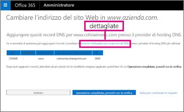 In Cambiare l'indirizzo del sito Web scegliere il collegamento alla procedura dettagliata