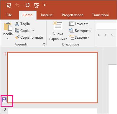 Icona che indica che qualcun altro sta collaborando alla presentazione in PowerPoint 2016