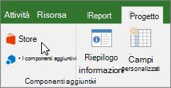 Schermata della sezione della scheda progetto sulla barra multifunzione con un cursore posizionato all'archivio. Selezionare l'archivio per passare a Office Store e cercare componenti aggiuntivi per Project.