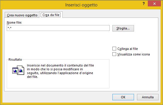 Scheda Crea da file nella finestra di dialogo Oggetto