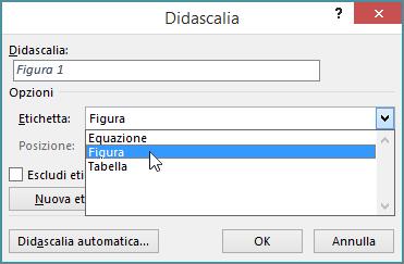 Usare la finestra di dialogo Didascalie per impostare le opzioni per le didascalie di figure, tabelle o equazioni.