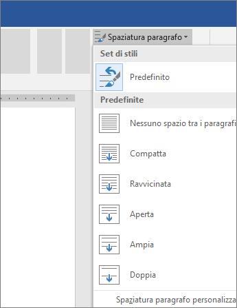 Opzioni per modificare la spaziatura dei paragrafi in Word