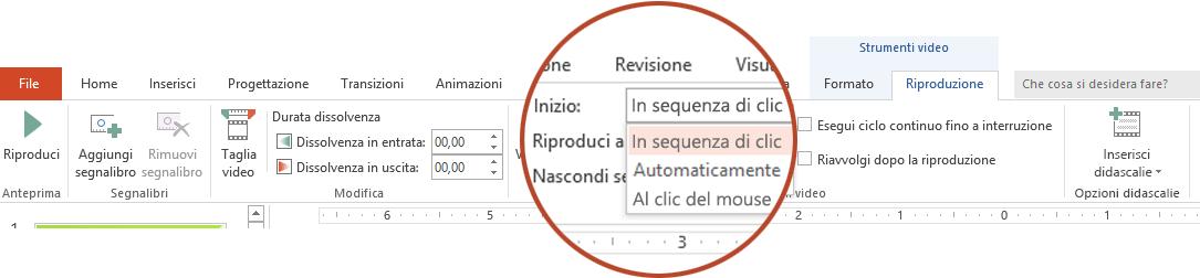 Le opzioni di riproduzione per un video del PC sono: In sequenza di clic, Automaticamente o Al clic del mouse