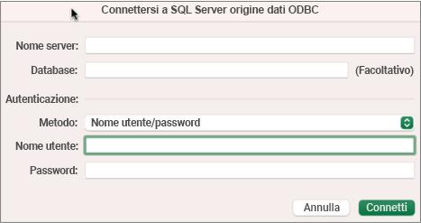 Finestra SQL Server finestra di dialogo per immettere server, database e credenziali