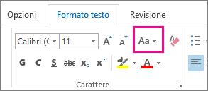 Pulsante Maiuscole/minuscole nella scheda Formato testo