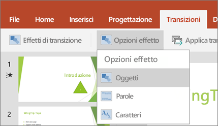 Transizioni > Opzioni effetto > Morphing in PowerPoint per Android