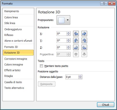 Rotazione 3D nella finestra di dialogo Formato forma