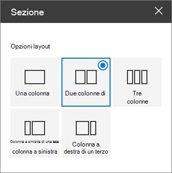 Riquadro layout di sezione