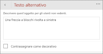 Finestra di dialogo testo alternativo per le forme in PowerPoint per Windows Phone.